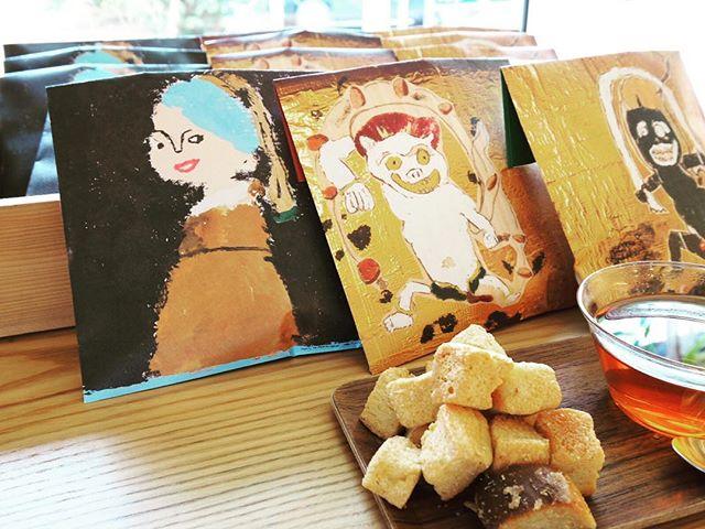 明日から「アーブル美術館」大贋作パーケージ「きび砂糖ラスク」の販売がはじまります! 12/6〜東京馬喰町ギャラリーアムコさん開催「アーブル美術館脱大贋作展」個展ギャラリーショップ商品。 ラスクは、静岡市の天然酵母国産小麦のやさしいパンとおやつのnature(ナチュール)さん特製。やわらかくやさしいプレミアムラスクです。 おやつはもちろん、ちょっとした手土産にもどうぞ! 左から フェルメール 真珠の耳飾りの少女の贋作パッケージ 俵屋宗達 (中)雷神の贋作パッケージ (右)風神の贋作パッケージ