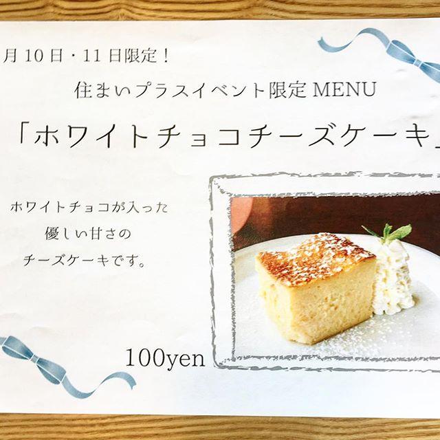 ホワイトチョコチーズケーキ! 濃厚なチーズのコクとホワイトチョコの甘さが特徴のチーズケーキ! 本日15食限定です。 アルタナカフェは本日も10時よりオープンします(^^)