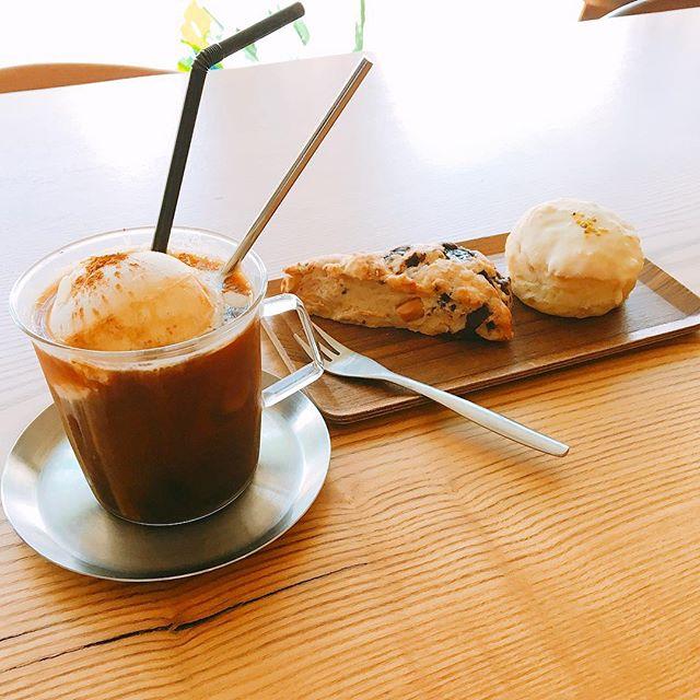 「シナモンコーヒーフロート」 カフェラテグラスにアイスコーヒーを注ぎ上にはベルギーアイスクリームがのっていてこの時期にピッタリ!! トッピングのシナモンパウダーがいい仕事してます(^^) スコーンは人気のチョコナッツとパイナップル&ホワイトチョコをセレクトしました。 アルタナカフェは本日も10時から17時までのオープンです。