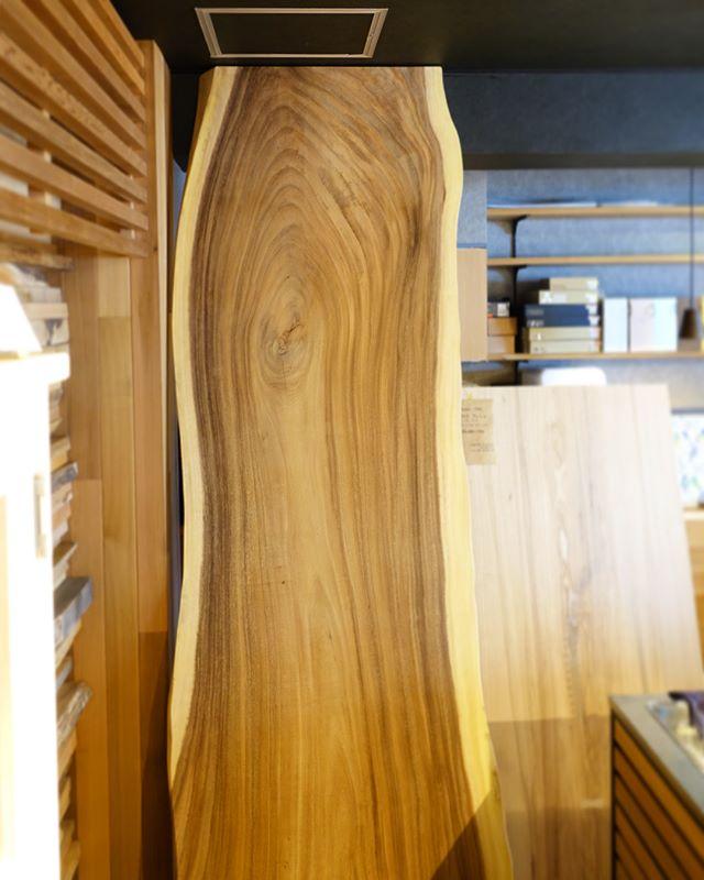 ◆新しい無垢板入荷しました! . ◎MUKU-TEN モンキーポッド一枚板 W2600×D820×T67 ¥260,000+税 ※脚代が別途かかります。 . 雨が降ると葉が閉じることから、レインツリーとも呼ばれているモンキーポッド。 大きな木目、辺材の白と心材の茶のコントラストが人気の木です。 . ハナレの床から天井まで届く特大サイズ!8人掛けることかできます。オフィスにもおすすめの存在感のある1枚です。 ご希望によりサイズ調整も可能です。 .