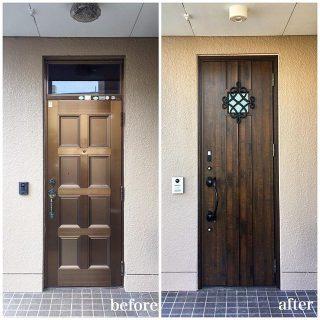 【1dayリフォーム!玄関ドア】 . 外壁や土間タイルを壊すことなく施工が可能なリフォーム用玄関ドア。工事は1日で完了します! . こちらのお住まい