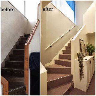 . 古くなった箇所の修繕+安全対策の為の手すりの設置で 明るい印象の階段にリノベーション! 階段 塗り壁 手すり 快適な暮らし リノベーション —-