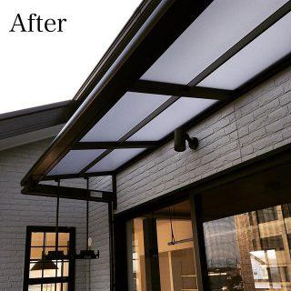ベランダに物干しスペースを設置。いきなりの雨でも少しくらいは平気なようにテラス屋根を設けました。