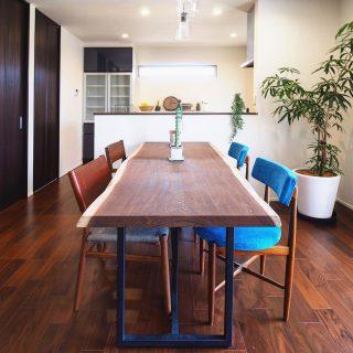 濃色のダイニングイメージ。 床や建具の濃い色合いに合わせた ウェンジ一枚板テーブルとマスターウォールとヴィンテージのチェアで落ち着いた雰囲気に。ブルーのアクセントカラーも効いています。 ︎ ︎ こちらの家具は、富士市三ツ沢で明日6/1(土)〜6/9(日)まで開催するLiving D 第一建設 @livingd_works_daiichikensetsu の「二世帯の家」見学会でご覧いただけます!! 土日はご予約無しでOKのオープン見学会、平日はご予約制となります。 ご予約は下記WEB予約いただくかTEL0545-52-9064まで。 ︎ ︎ 詳細はコチラから︎ https://www.daiichikensetsu.co.jp/event/?p=18938 ハナレアルタナは本日5/31(金)17:00まで営業中!