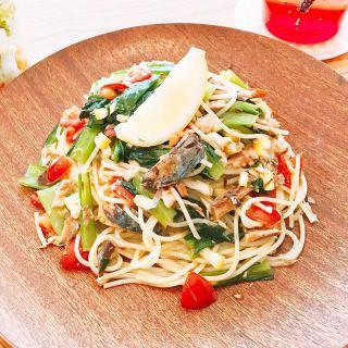 本日3月30日はサバの日! 毎月3と8が付く日限定の 「オイルサバディンと季節の野菜パスタ」 をお召し上がりいただけますよ