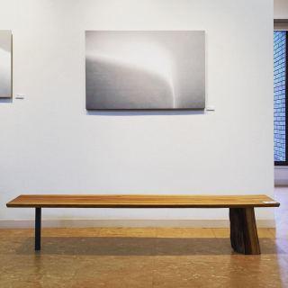 桜の一枚板スリムテーブル 椋木(ムクノキ)とスチールの脚 MUKUten.premium